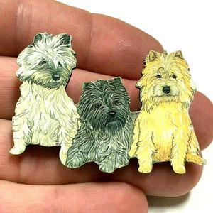 vintage terrier dogs brooch pin cute